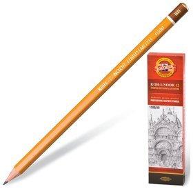 Карандаш чернографитный Koh-i-noor 1500, 1 шт., 8b, без резинки, корпус желтый, заточенный   Koh-i-noor