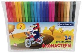 """Фломастеры Centropen, 24 цвета, """"Пингвины"""", смываемые, вентилируемый колпачок, полибег  Centropen"""