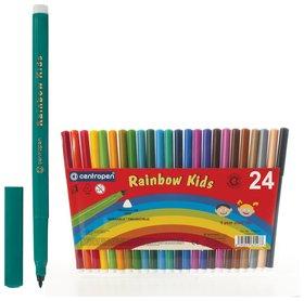 """Фломастеры Centropen """"Rainbow Kids"""", 24 цвета, смываемые, эргономичные, вентилируемый колпачок   Centropen"""