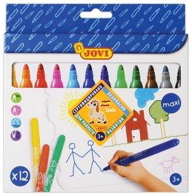 """Фломастеры утолщенные Jovi """"Maxi"""", 12 цветов, трехгранные, для малышей, вентилируемый колпачок  Jovi"""