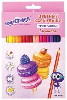 """Карандаши цветные """"Сладкие истории"""", 36 цветов, трехгранные заточенные  Юнландия"""