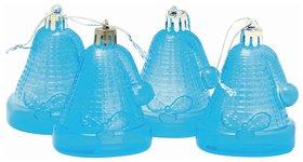 """Украшения елочные подвесные """"Колокольчики"""", набор 4 шт., 6,5 см, пластик, полупрозрачные, голубые  Веселый хоровод"""