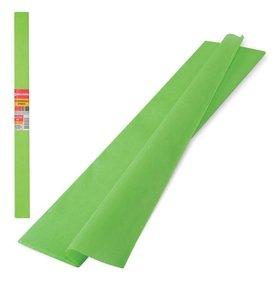 Цветная бумага крепированная плотная, растяжение до 45%, рулон, светло-зеленая  Brauberg