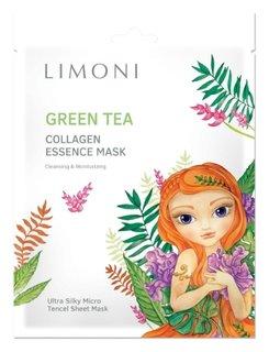 Маска для лица тонизирующая с зеленым чаем Green Tea Collagen  Limoni