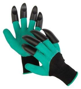 Перчатки нейлоновые, латексное покрытие, с когтями, «землеройки»  Greengo