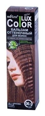 Оттеночный бальзам для волос BelitaОттеночный бальзам для волос<br>Оттеночные бальзамы коллекции COLOR LUX обеспечат эффективное и бережное тонирование для модного цвета волос. Для проведения процедуры окрашивания вам понадобится только 30 минут, Волосы наполнятся сиянием изысканного оттенка. Вас несомненно заметят все окружающие!<br>Пол: Женский; Цвет: Тон 06.1 (орехово-русый); Объем мл: 100;