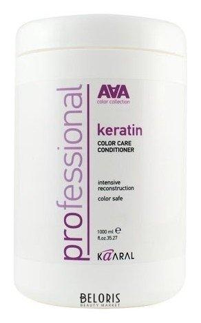 Кондиционер для волос KaaralКондиционер для волос<br>Инновационный продукт для ухода за окрашенными и химически обработанными волосами. Уникальный состав кондиционера на основе натурального гидролизованного кератина и масла оливы максимально эффективно восстанавливает сухую и пористую структуру волоса как на поверхности, так и изнутри. Микрочастицы гидролизованного кератина, проникая в пористую структуру волоса, восполняют недостаток утраченных протеинов, возвращая волосам гладкость и эластичность. Масло оливы, богатое амино- кислотами, интенсивно питает волосы и способствует их естественному восстановлению. Слабокислый уровень рН бережно закрывает кутикулу, предотвращая вымывание цве- товых пигментов, что позволяет надолго сохранить блеск и яркость окрашенных волос. Подходит для ежедневного ухода за окрашенными и химически обработанными волосами.<br>Пол: Женский; Линейка: AAA KERATIN COLOR CARE; Объем мл: 1000;