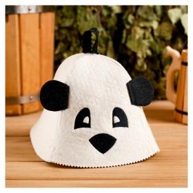 """Колпак для бани шапка с детской термопечатью """"Панда"""" с ушками, войлок, 100% шерсть  Добропаровъ"""