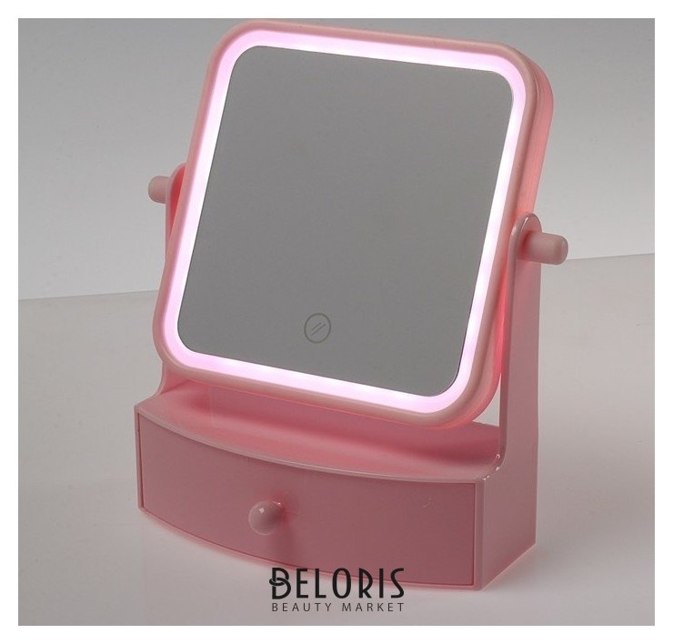 Зеркало Luazon Kz-05, подсветка, 22 × 20 × 9 см, 4*ааа, настольное, квадрат, Россия  - Купить
