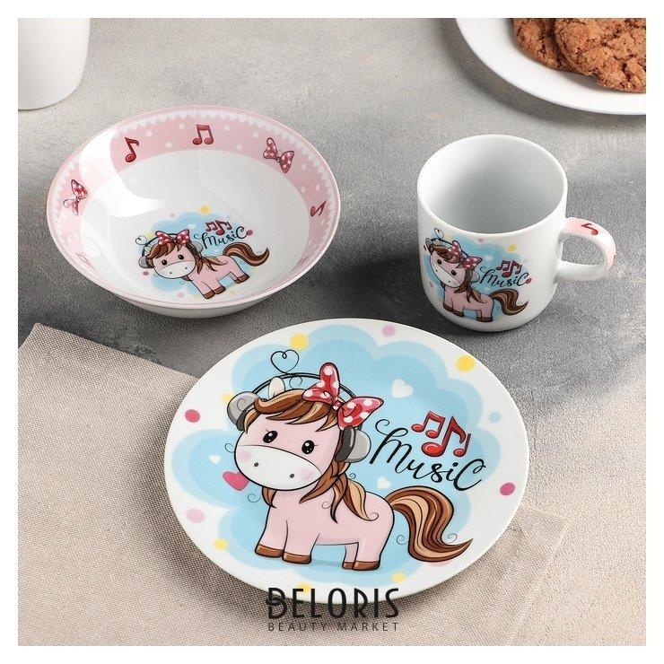 Купить Набор детской посуды «Маленькая лошадка», 3 предмета: кружка 250 мл, миска 400 мл, тарелка 18 см, Доляна, Россия
