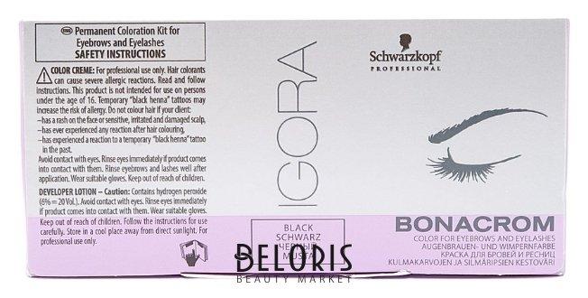 Краска для бровей IgoraКраска для бровей<br>Стойкая краска Igora Bonacrom (Игора Бонахром) фирмы Scwarzkopf подойдет как профессионалам, так и для тех, кто хочет изменить цвет бровей и ресниц в домашних условиях. Краска Igora Bonacrom обеспечивает превосходный стойкий результат окрашивания (до 6 недель) за короткое время воздействия (всего 5 10 минут). Очень проста в применении, не течет, краситель и окислитель легко смешиваются и дозируются. Защитные диски и палочки для смешивания краски включены в комплект для максимального удобства и простоты работы. В набор входит:  Краска Igora (15 мл)  Активирующий лосьон 6% (10 мл)  Защитные диски для кожи век  Аппликатор для смешивания и окрашивания  Мисочка для смешивания краски.<br>Пол: Женский; Цвет: Краска для бровей и ресниц black (черный); Линейка: BONACROM; Объем мл: 15*10;