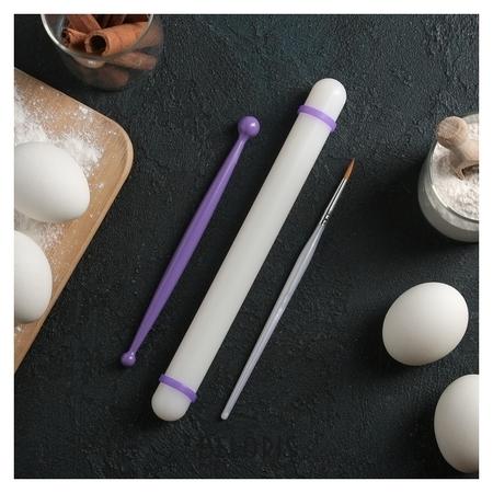 Набор кондитерский, 3 предмета: скалка 23 см, кисточка 18 см, стек двусторонний 17 см NNB