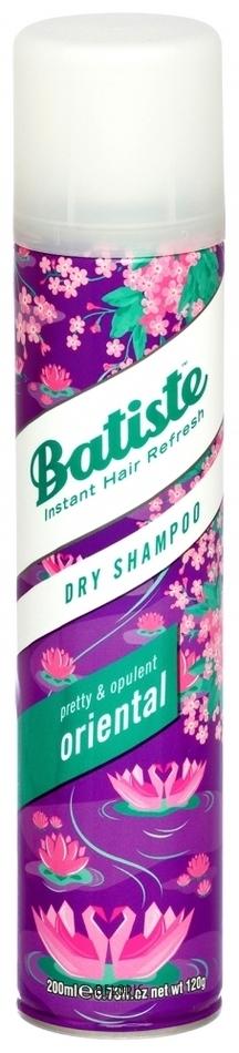 Шампунь для волос BatisteШампунь для волос<br>Batiste Oriental сухой шампунь с восточным ароматом, предназначенный для быстрого придания волосам свежести, объема и структурности. Его действие не отличаются от оригинального шампуня, но это настоящая находка для тех, кто особенно трепетно относится к запахам и любит порадовать себя новыми сочетаниями. Аромат с тонкими аккордами кокоса и сандала.<br>Пол: Женский; Объем мл: 200;