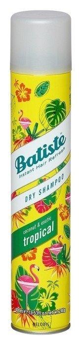 Шампунь для волос BatisteШампунь для волос<br>Tropical - сухой шампунь с ароматом пляжной экзотики и фруктов, предназначенный для быстрого придания волосам свежести, объема и структурности. Его действие такое же, как и у оригинального шампуня, но сочетание ноток парфюма достаточно тонкое и необычное: дыня, банан, кокос, слива, персик, ваниль и сандал.<br>Пол: Женский; Объем мл: 200;
