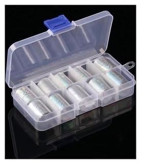 Набор переводной фольги для дизайна ногтей, 2,5 × 50 см, 10 шт, цвет серебристый  Queen fair