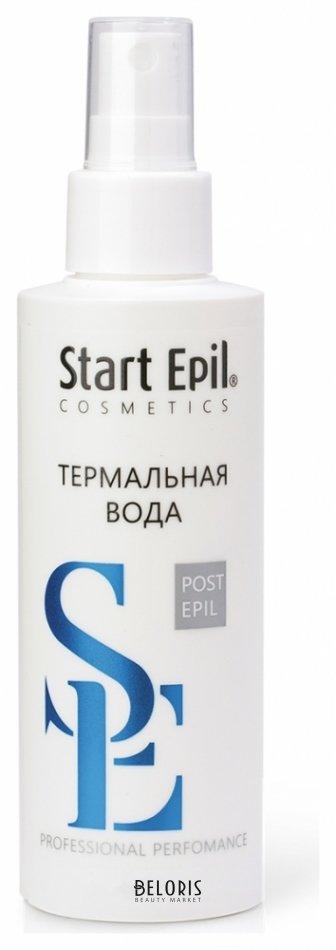 Термальная вода для лица Start EpilТермальная вода для лица<br>Назначение: для всех типов кожи. Применяется для очищения кожи от остатков сахарной пасты. Активные компоненты: триметилглицин, пантенол, аллантоин, экстракт ромашки. Термальная вода предназначена для очищения кожи после процедуры сахарной депиляции. Эффективно удаляет остатки сахарной пасты, обеспечивает нежный уход и увлажнение. Успокаивает кожу, насыщая её минералами и микроэлементами. Способствует усилению естественных защитных функций кожи. Примечание: хранить в сухом месте при комнатной температуре.<br>Пол: Женский; Объем мл: 160;
