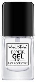 """Базовое и верхнее покрытие для ногтей 2 в 1 """"Power gel 2in1 base & top coat"""" прозрачный  Catrice"""