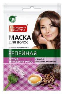 Репейная маска для волос с какао и яичным желтком против выпадения  Фитокосметик