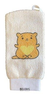Купить Мочалка для тела VIVAL, Мочалка детская рукавица из хлопка с рисунком, Россия