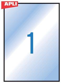 Этикетка самоклеящаяся всепогодная, 210х297 мм, прозрачная, 20 листов  Apli