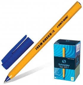 "Ручка шариковая Schneider ""Tops 505 F"", синяя, корпус желтый, узел 0,8 мм, линия письма 0,4 мм  Schneider"