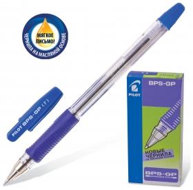 """Ручка шариковая масляная с грипом Pilot """"Bps-gp"""", синяя, корпус прозрачный, узел 0,7 мм, линия письма 0,32 мм   Pilot"""