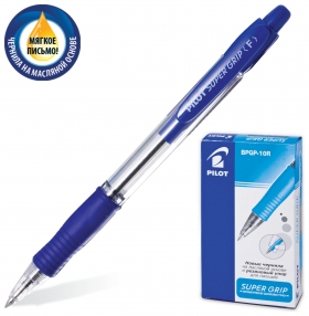 """Ручка шариковая масляная автоматическая с грипом Pilot """"Super Grip"""", синяя, узел 0,7 мм, линия письма 0,32 мм   Pilot"""