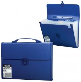 Портфель пластиковый Brauberg А4 (332х245х35 мм), 13 отделений, с окантовкой, индексные ярлыки, синий  Brauberg