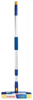 Стекломойка ЛАЙМА вращающаяся, телескопическая ручка, рабочая часть 25 см (стяжка, губка, ручка), для дома и офиса  Лайма