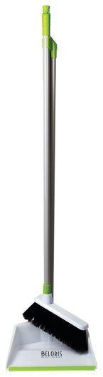 Совок для мусора ЛЮБАША со щеткой-сметкой, стальная ручка 80 см, пластик, резиновая кромка  Любаша
