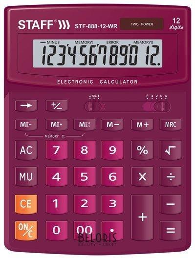 Калькулятор настольный Staff Stf-888-12-wr (200х150 мм) 12 разрядов, двойное питание, бордовый Staff